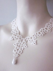 tatted silk necklace
